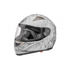 Шлем STELS FF389, белый с узорами